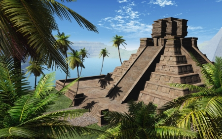 3d temple: Mayan temple teal jungel Stock Photo