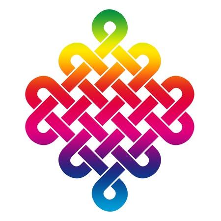 Tibetana nudo sin fin - los colores del arco iris Foto de archivo