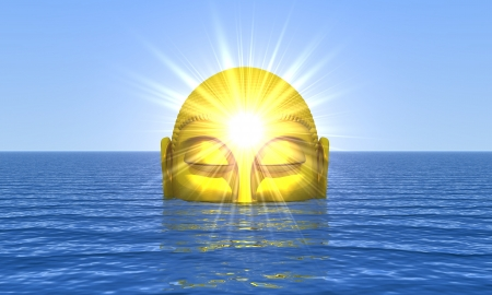 esoteric: Buddha - Golden Water Awakening Stock Photo