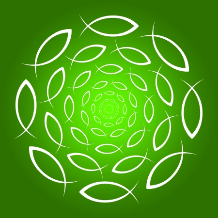 ICHTHYS mandala green white Stock Photo - 13945133