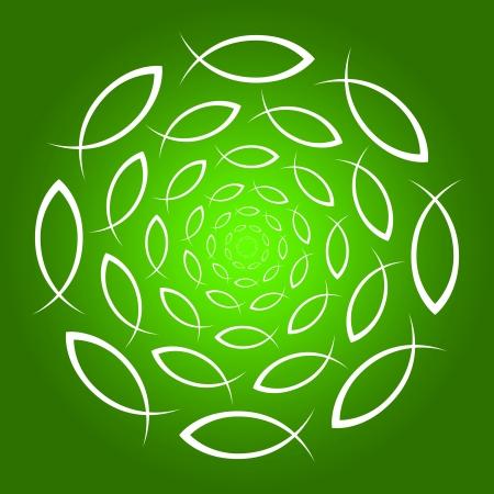 jesus fish: ICHTHYS mandala green white