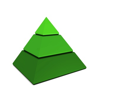 levels: Business pyramid in three parts - Green Stock Photo