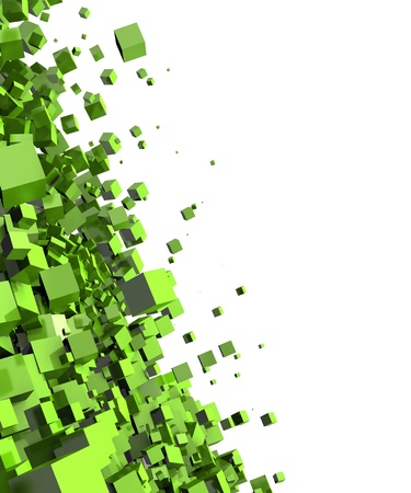 backplate: 3D - Background - Flying dice Green Stock Photo