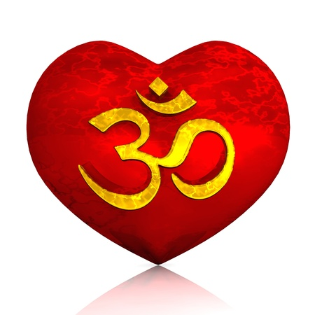 chakra symbols: 3D - Golden Om sign on red heart