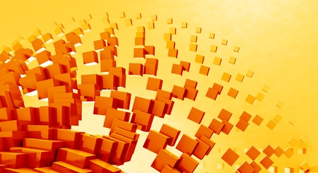 backplate: 3D - Background - Flying cubes Red Orange 06 Stock Photo