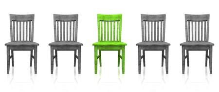 의자의 3D 행 - 녹색 - 회색