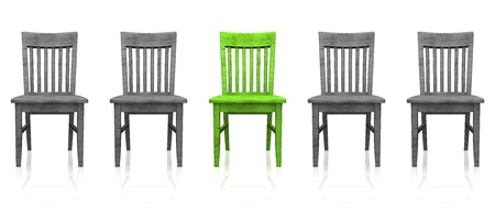 doctor stress: 3D row of chairs - green-gray