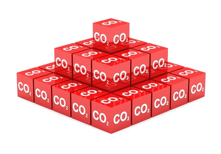 pyramid peak: 3D - CO2 cube pyramid red