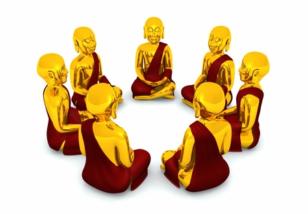 Meditation Circle of Seven Buddhas Stock Photo - 13945184