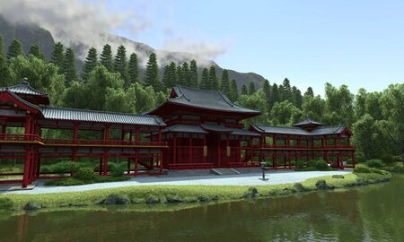 The red temple on the lake  photo