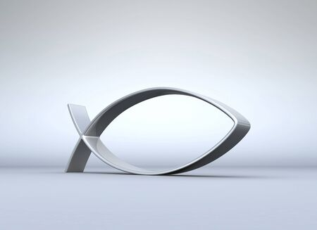 ichthys: 3D ICHTHYS silver on gray 01 Stock Photo