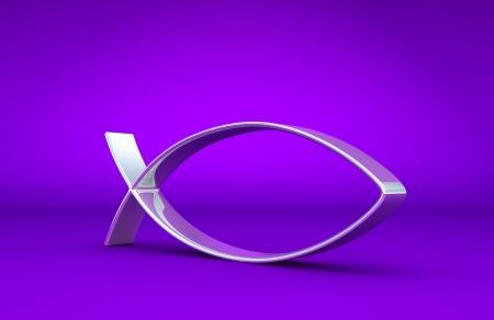 jesus fish: 3D ICHTHYS silver on purple 01