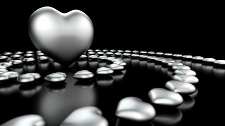 eroticism: Circle of Hearts - Black Chrome Stock Photo
