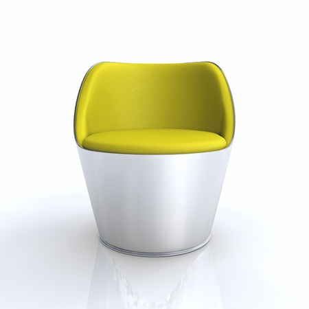 designer chair: Designer chair Silver Yellow Stock Photo