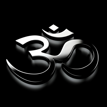 ohm: OM Clear Sign - Black on Chrome Stock Photo