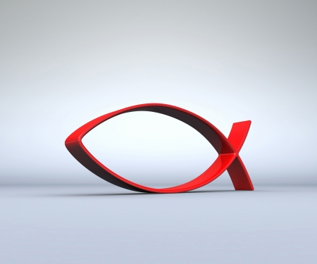 ichthys: 3D ICHTHYS red to gray 01 Stock Photo