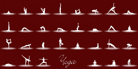 Yoga Poses Set - Black White photo