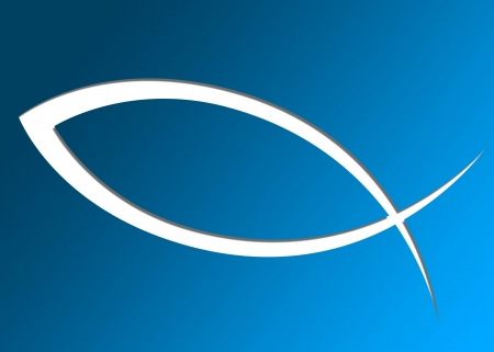 pez cristiano: Cristiano de los pescados símbolo con la sombra azul sobre