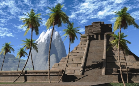 3d temple: Mayan temple blue green 033 Stock Photo