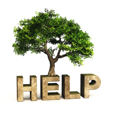 Help 4 Nature - 3D text with green tree photo