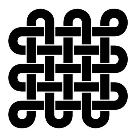 Tibetan endless knot - Black and White Stock Photo - 14171543