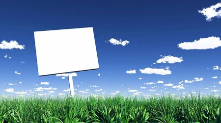 plot: Blank sign in the grass 01