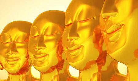 3d aum: Golden Buddha Meeting 01 Stock Photo