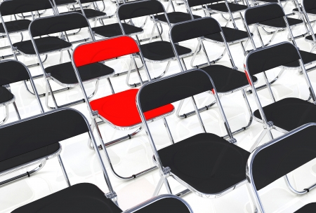 office chairs: The red folding chair into the crowd
