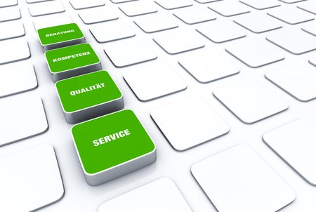 customercare: Green cube concept - quality consulting expertise Service 4 Stock Photo