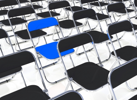 customercare: A blue folding chair in the quantity 2 Stock Photo