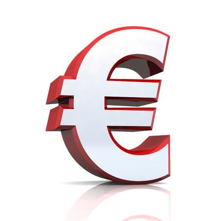 acirc: 3D Euro symbol - red silver chrome