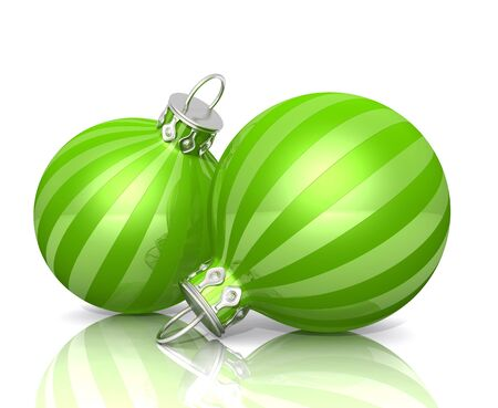 Christmas Ornaments - Green striped