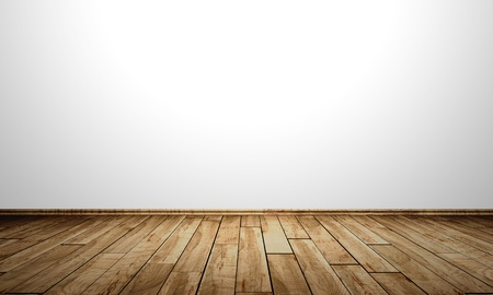 White Walls With Wood Floor Fine Grain Birch Stock Photo Picture