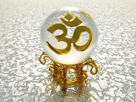 3d om: Golden 3D characters oracle with AUM - OM symbol silver structure