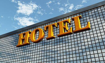 hotel sign: 3D - Big golden HOTEL sign