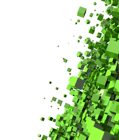 cuboid: 3D - Background - Flying Cubes Green 01 Stock Photo