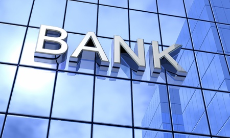 business loans: Blue mirrors - Bank Concept Stock Photo