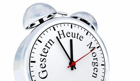 elapsed: Silver Alarm Clock Concept - Tomorrow Today Yesterday 4 Stock Photo