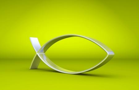 pez cristiano: 3D ICHTHYS de plata en verde 02 Foto de archivo