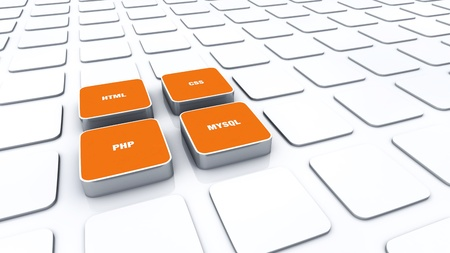 3D Designs Orange - PHP MYSQL HTML CSS 2 Stock Photo - 14316563