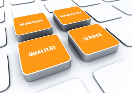 customercare: Orange cube concept - quality consulting expertise Service 3 Stock Photo