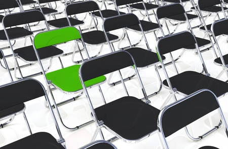 particularly: A folding chair in the amount of green black Stock Photo
