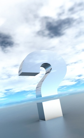 The big question mark silver 3D Stock Photo - 14316621