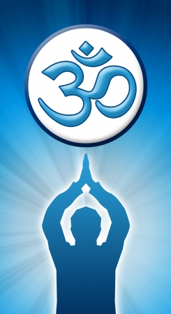 om sign meditation blue white photo