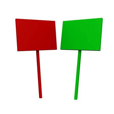 rot: 2x Blanko Schilder - Rot und Gr�n 02