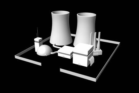 hintergrund: 3D Kernkraftwerk auf schwarzem Hintergrund