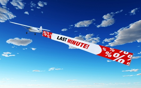 short sale: Plane with Banner - Last Minute Stock Photo