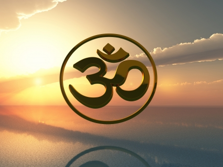 Aum symbol 3D gold at sunset photo
