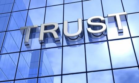 confianza concepto: Blue espejo fachada - La confianza Concepto