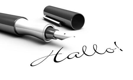 cordially: Hello - pen concept Stock Photo